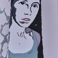Behind the curtains, acrylic on canvas, 80cm x 60cm, 2021