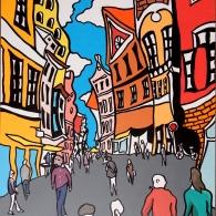 Bäckerstraße Lüneburg an einem Samstag, 80cm x 60cm, 2015