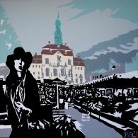Lüneburg Marktplatz mit einer Frau, Acrylic on canvas, 60cm x 60cm, 2015