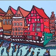 Lüneburg am Stint, Acrylic on canvas, 100cm x 30cm, 2016