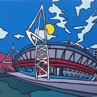 Painting of the Principality Stadium in Cardiff - 2019