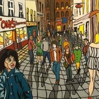Acrylic painting of Caroline street  in Cardiff, 2019