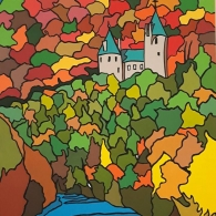 Acrylic painting of Castell Coch, Tongwynlais, Wales, 2019