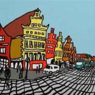 Lüneburg am Sande, Acrylic on canvas, 100cm x 30cm, 2015